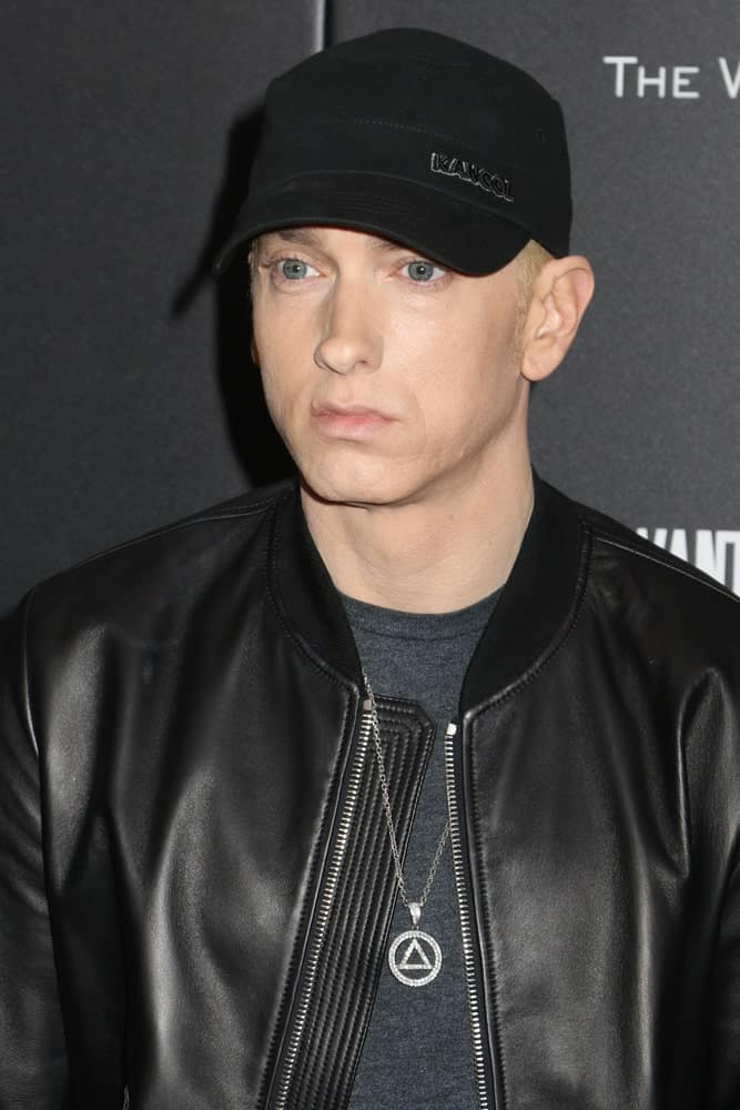Eminem Wearing a Black Cap and Black Clothes
