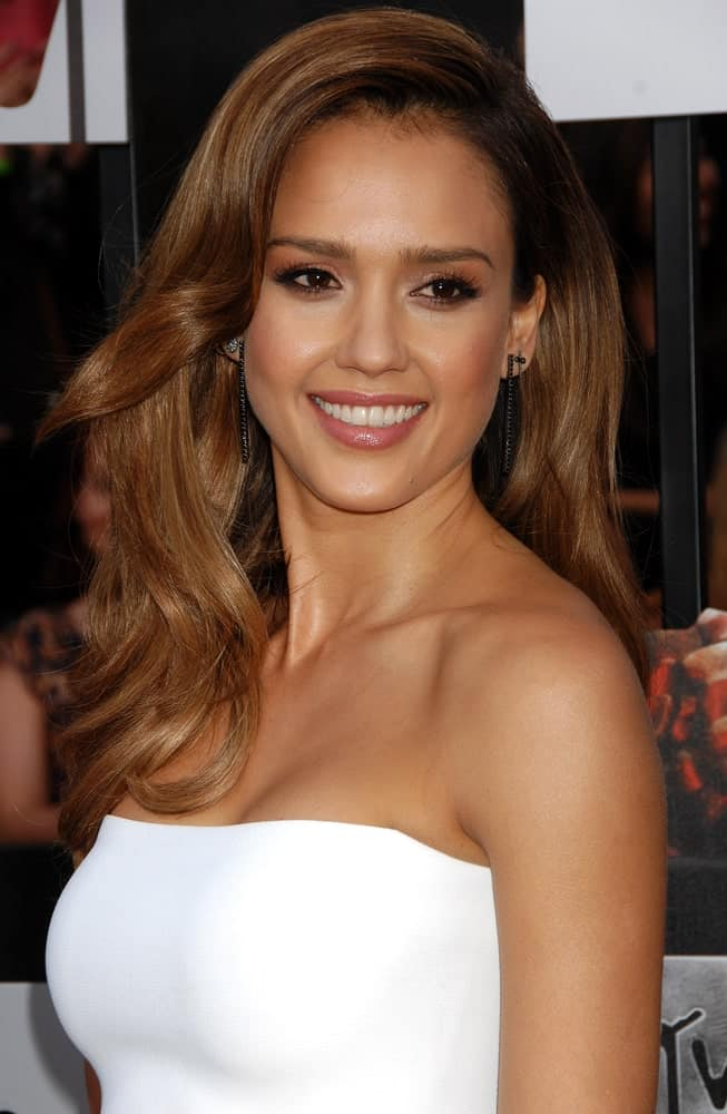 Jessica Alba Wearing a White dress
