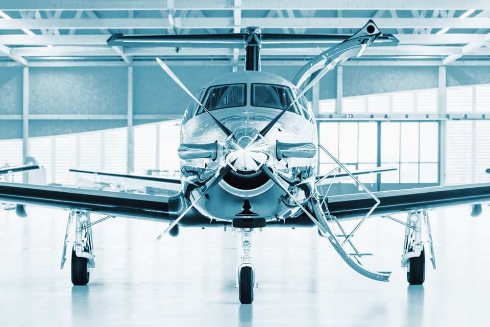 Turboprop Aircraft in a hangar