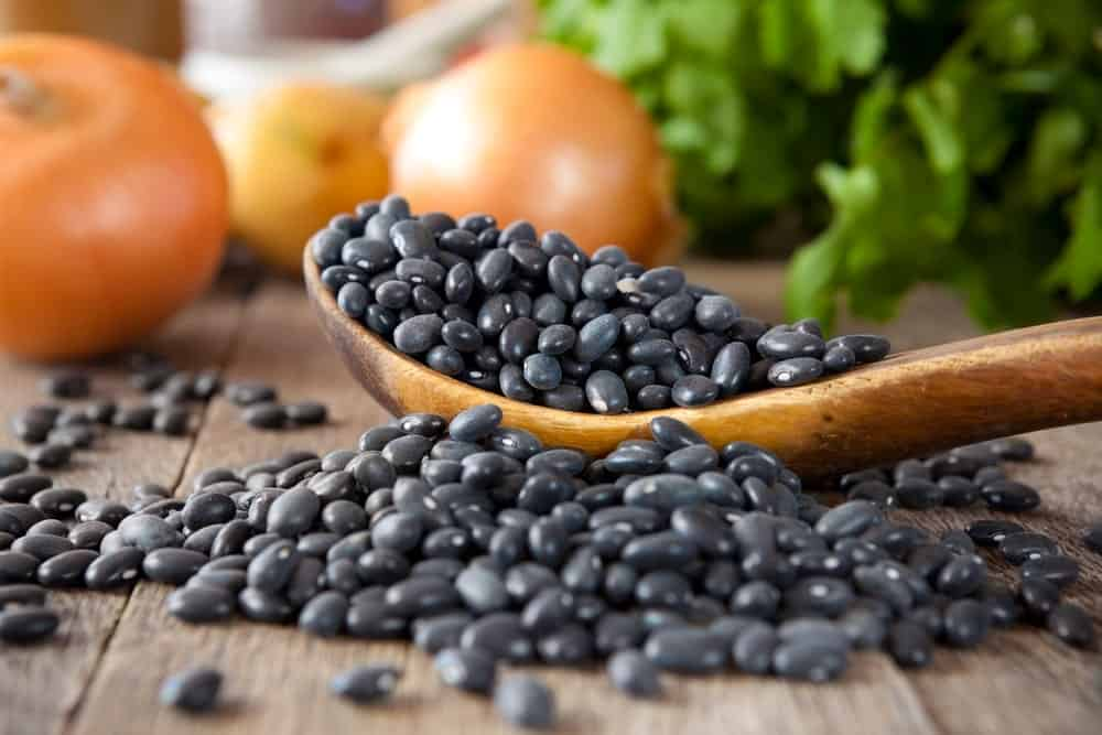 Black Beans with fruits and herbs in the background.