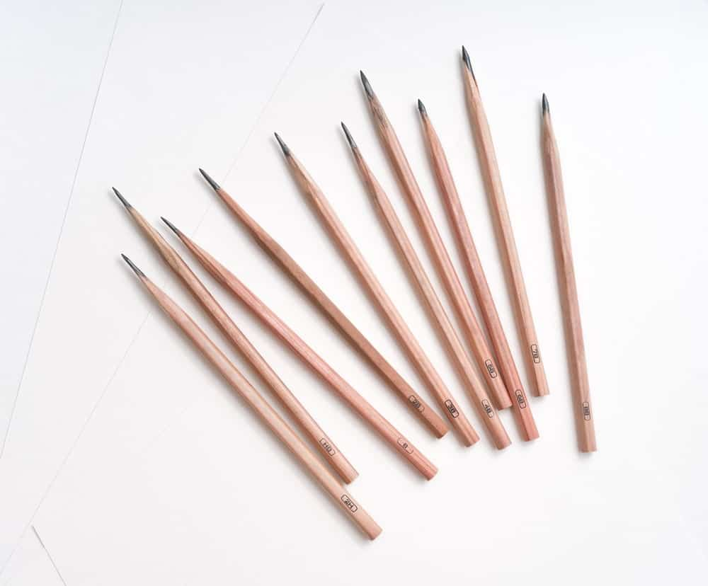 8B Pencils against White Background