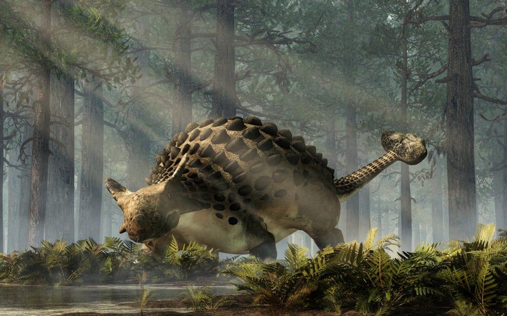 Ankylosaurus dinosaur in a jungle