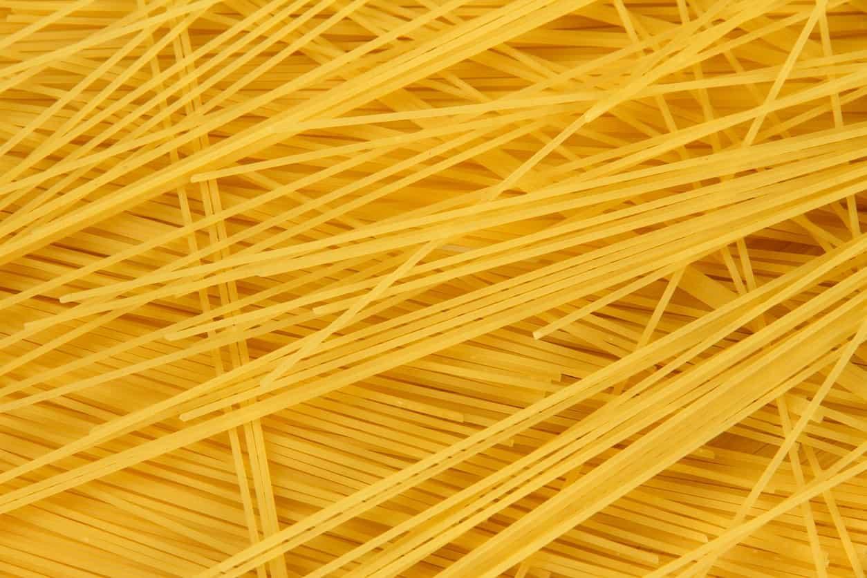 Uncooked Spaghettini pasta