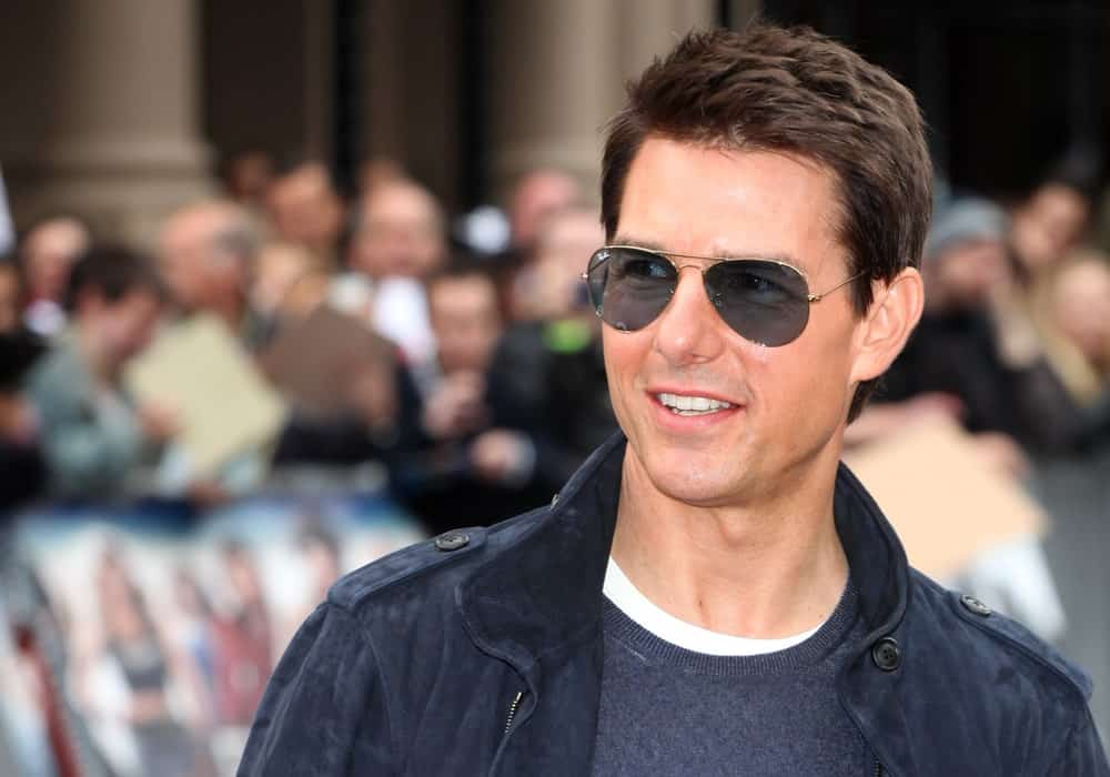 Tom Cruise Wearing Black Shades and Jacket