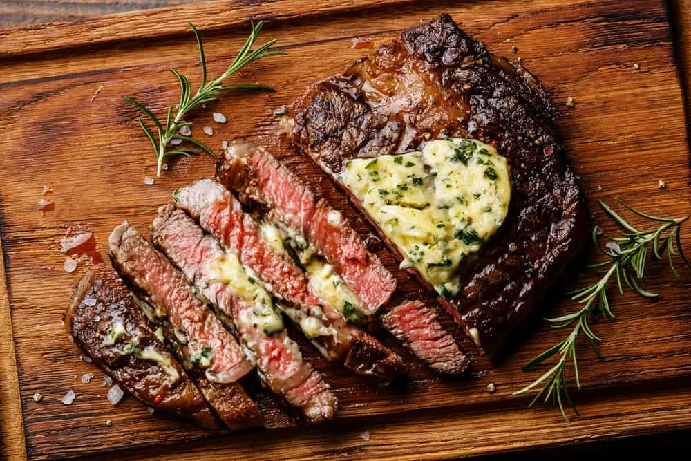 Ribeye Steak with Herb Butter and Rosemary