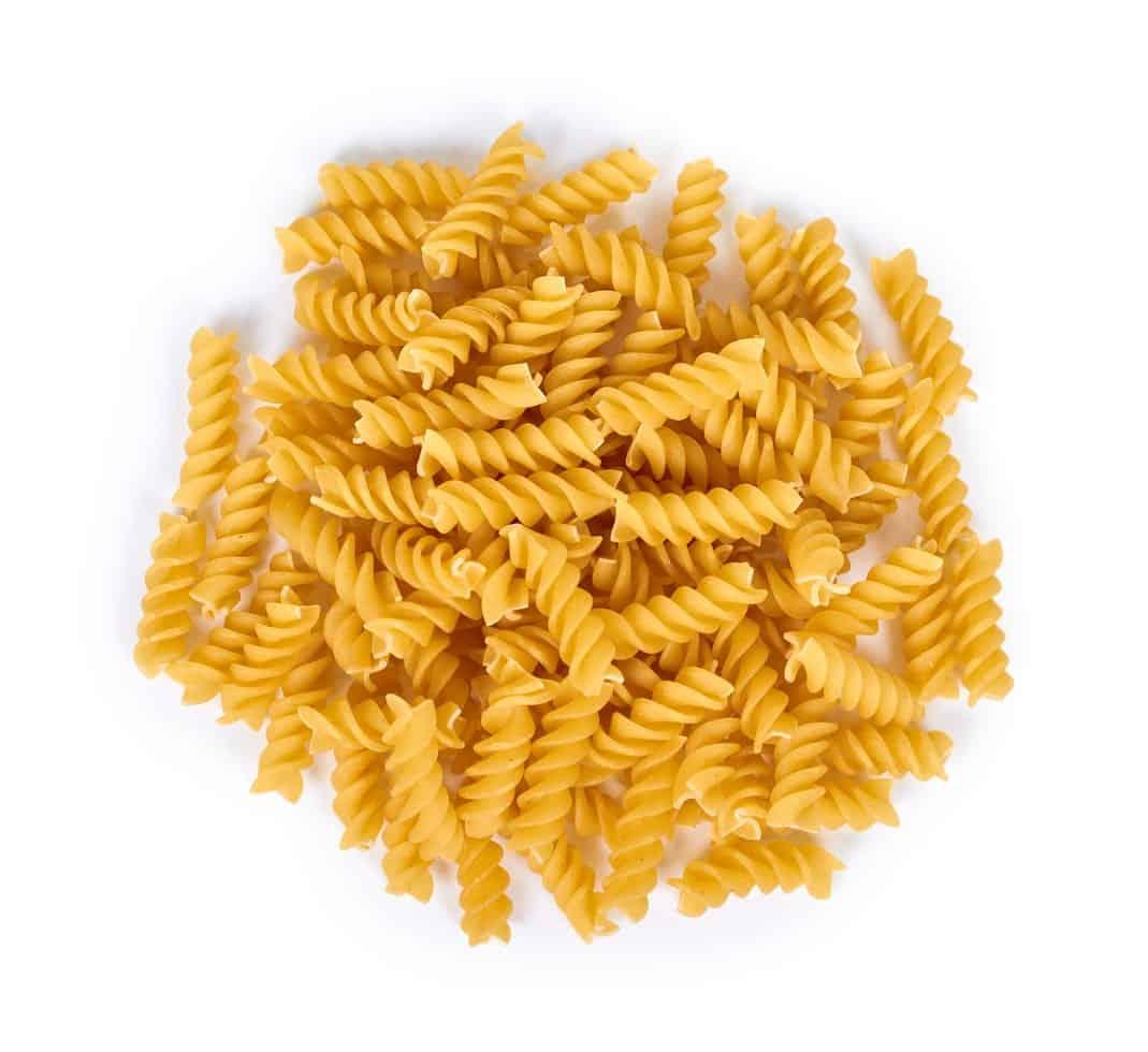 Uncooked Fusilli pasta
