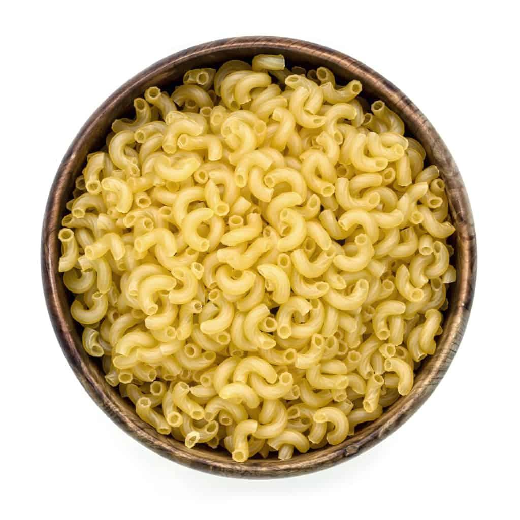 Uncooked elbow macaroni pasta