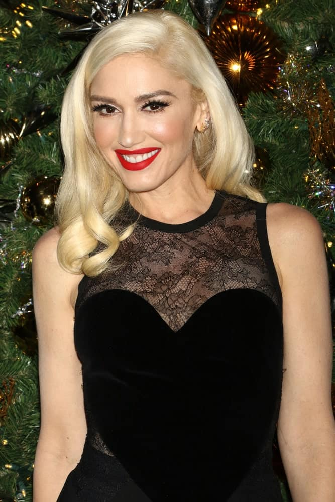 Gwen Stefani smiling at the camera