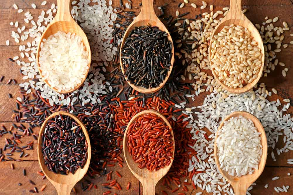Different types of rice on the table