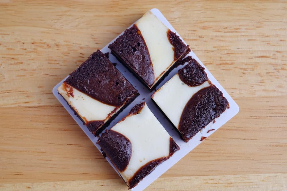 Cream Cheese Brownies cut up into squares