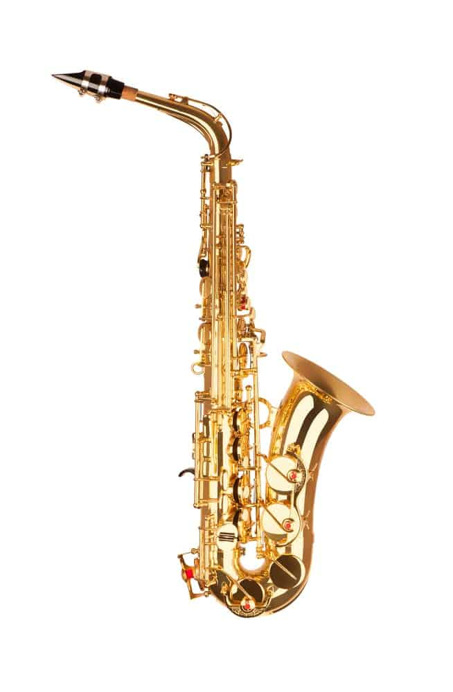 Alto Saxophone against White Background