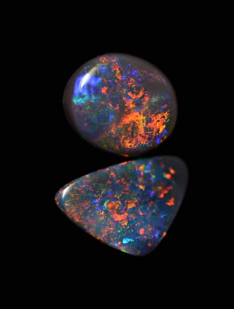 Two black opals