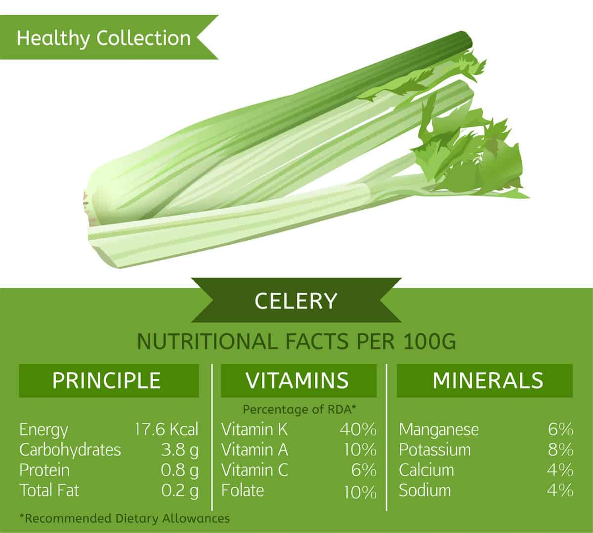 Celery nutrition facts chart