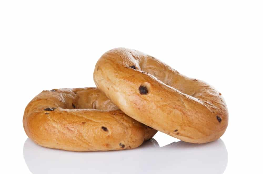 Two Chocolate Chip Bagels Kept together
