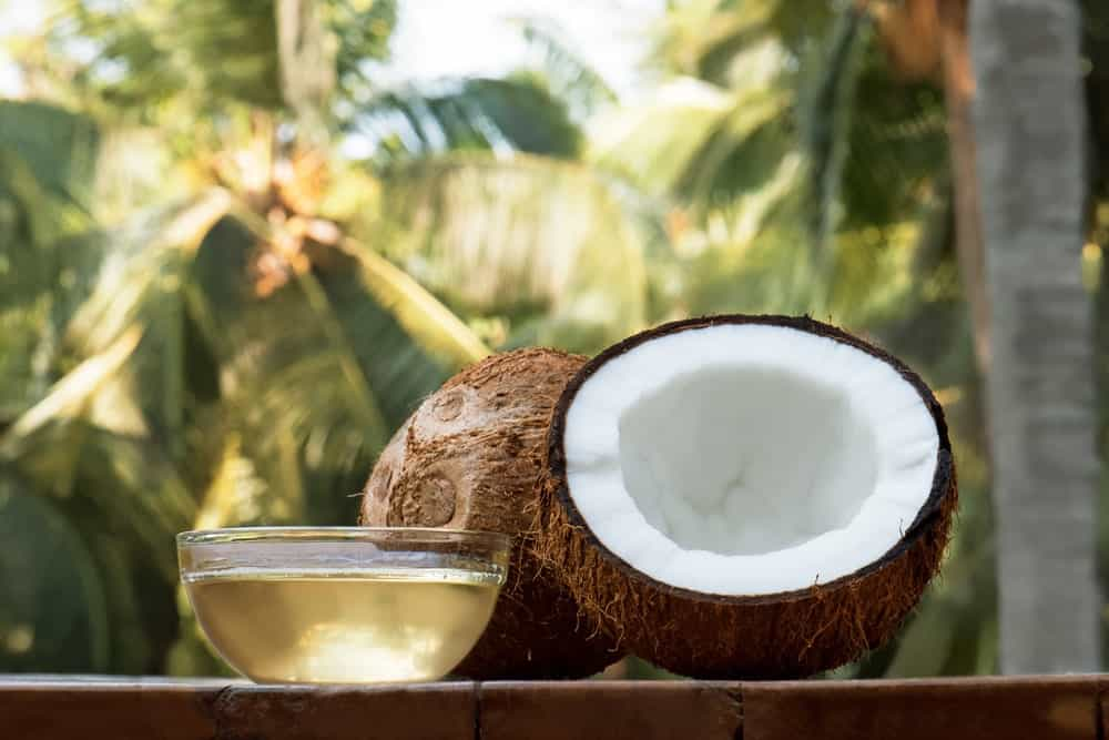 Cut Open Coconut with its Oil