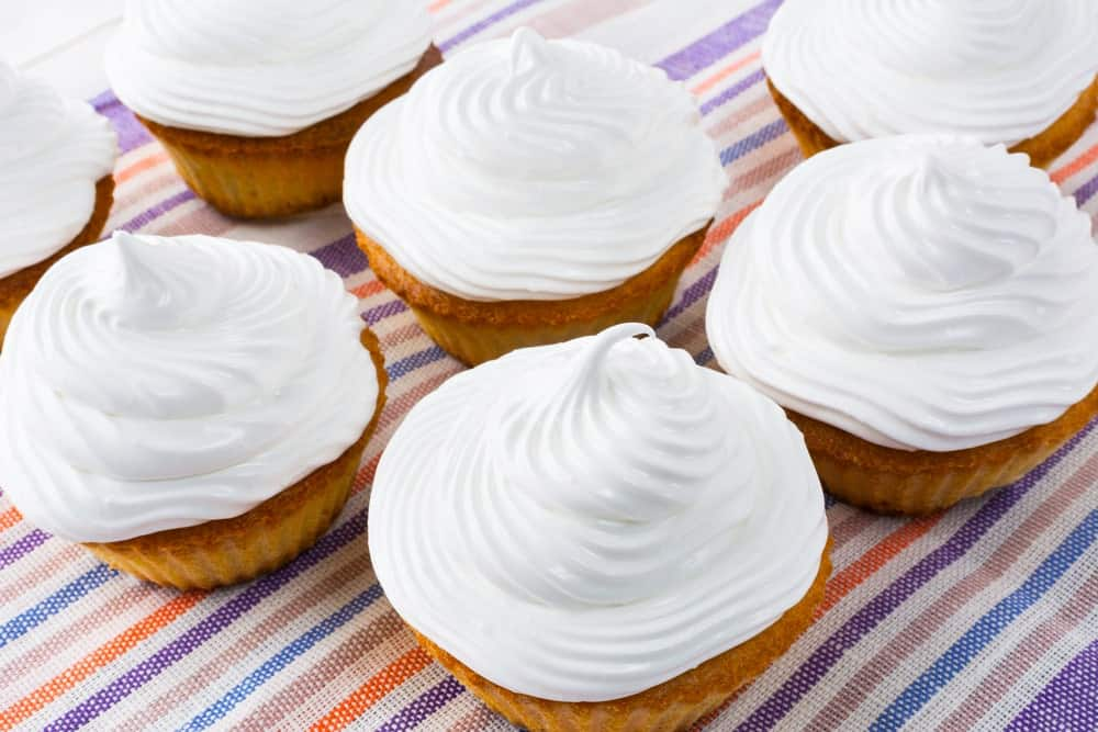 Seven-Minute Frosting on Vanilla Cupcakes