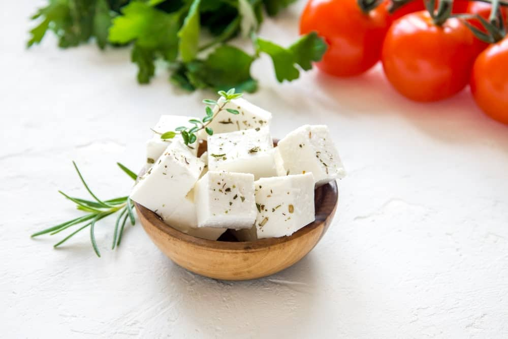 ubes of Feta Cheese in a Bowl