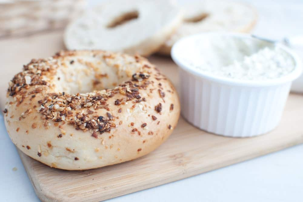 Garlic Bagel with Cream Cheese