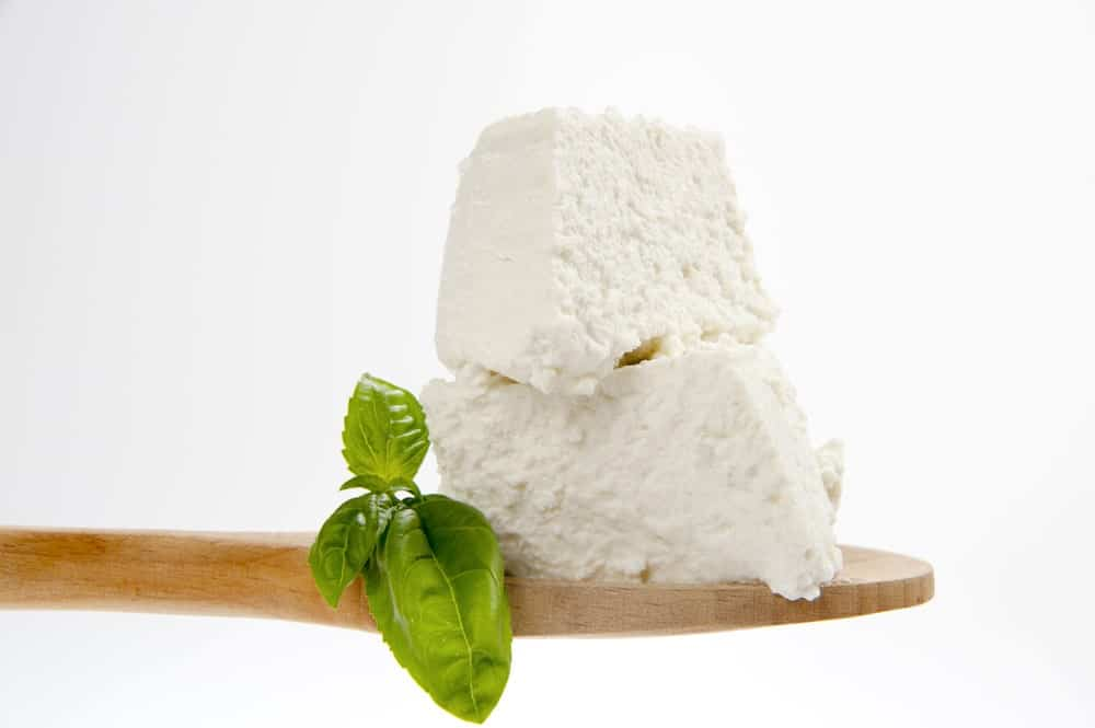 Fresh Ricotta Cheese on a Wooden Spoon