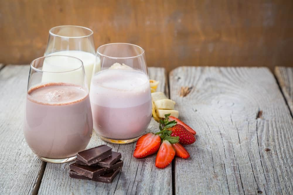 Glasses of Different Flavored Milk