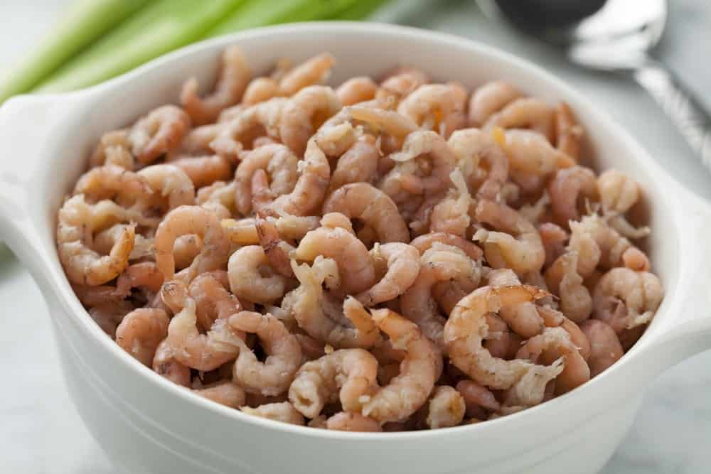 raw brown shrimps