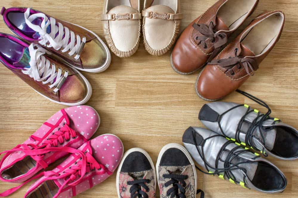 Different types of shoes on a table