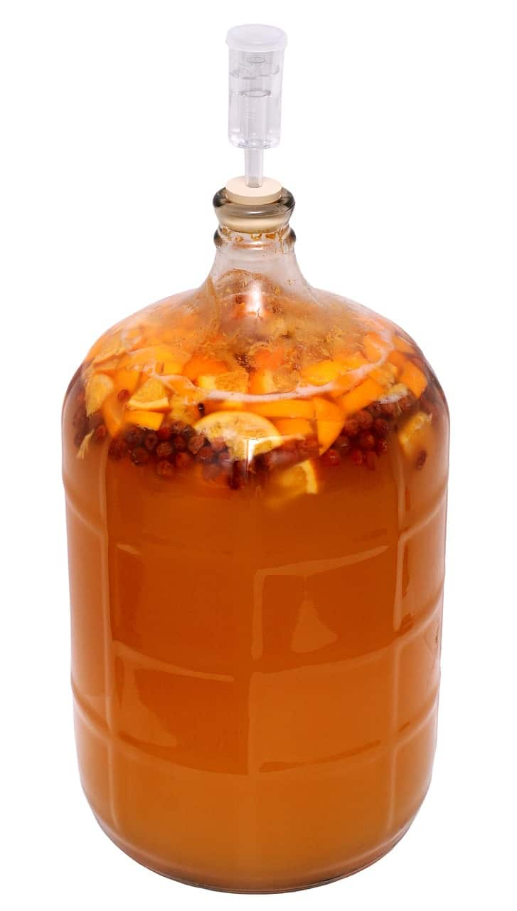 A batch of homemade fruit mead or melomel mead brewing in a jar