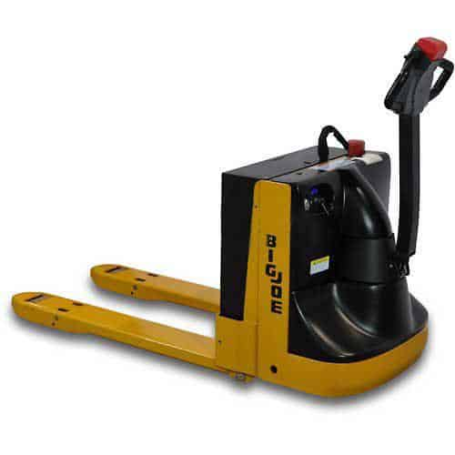 A yellow Big Joe Electric Power Pallet Truck