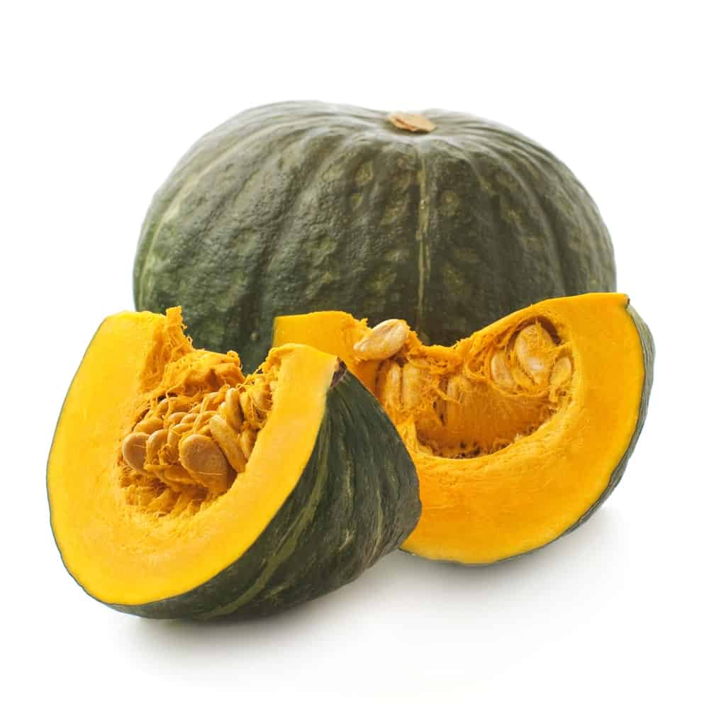 Kabocha squash whole and a couple of half slices