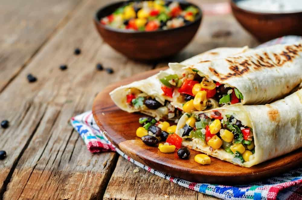 Burritos Loaded with Corn, Quinoa and Beans