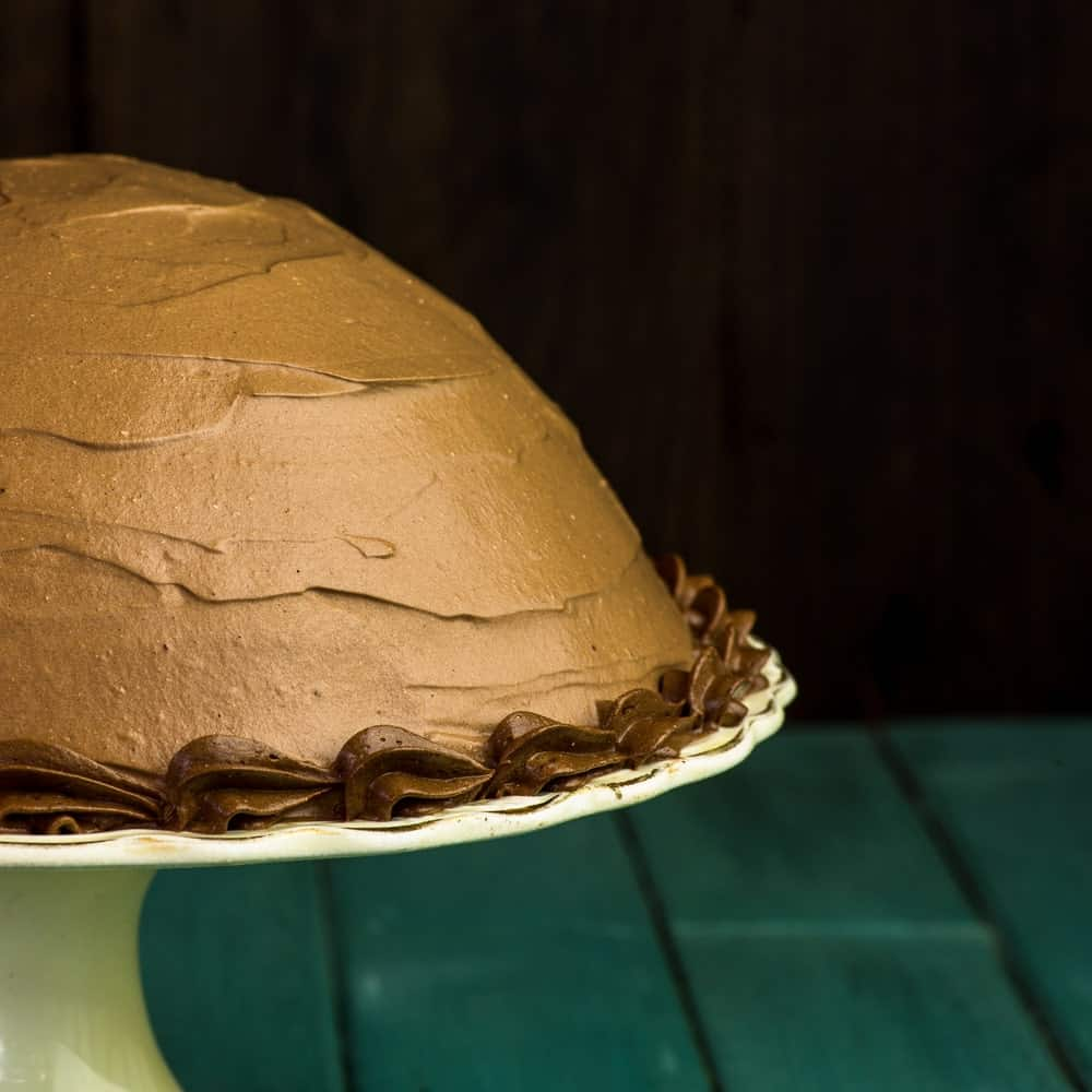 Chocolate coffee hazelnut half sphere cake on a cake stand.