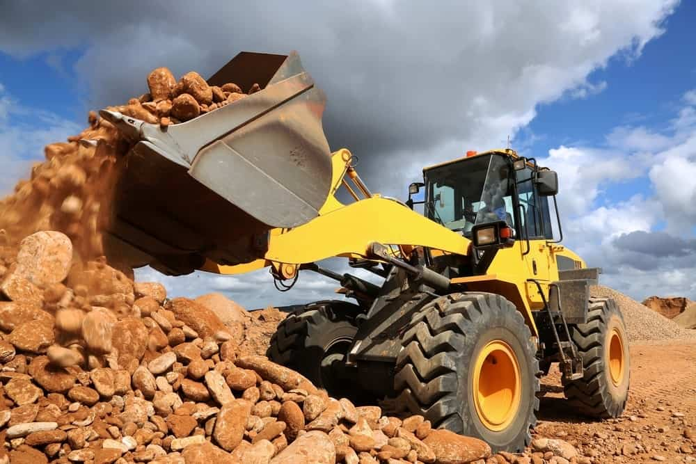A front end loader at a construction site
