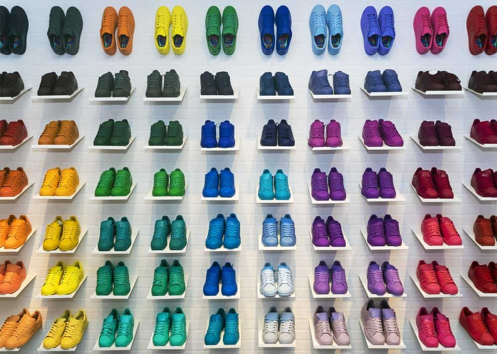 Rainbow colored Adidas sneakers