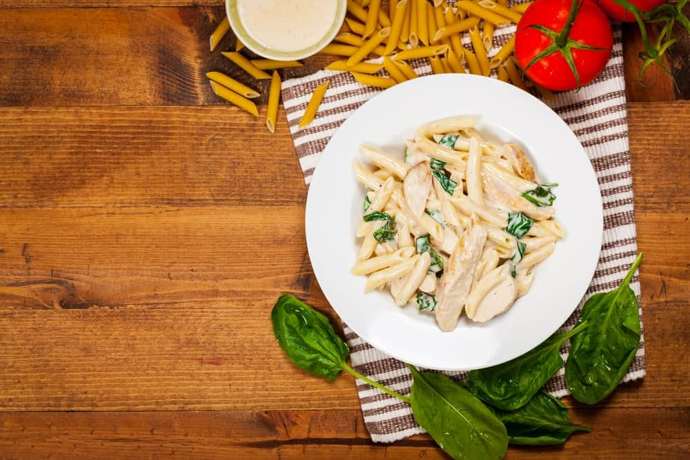 Penne pasta in Alfredo sauce