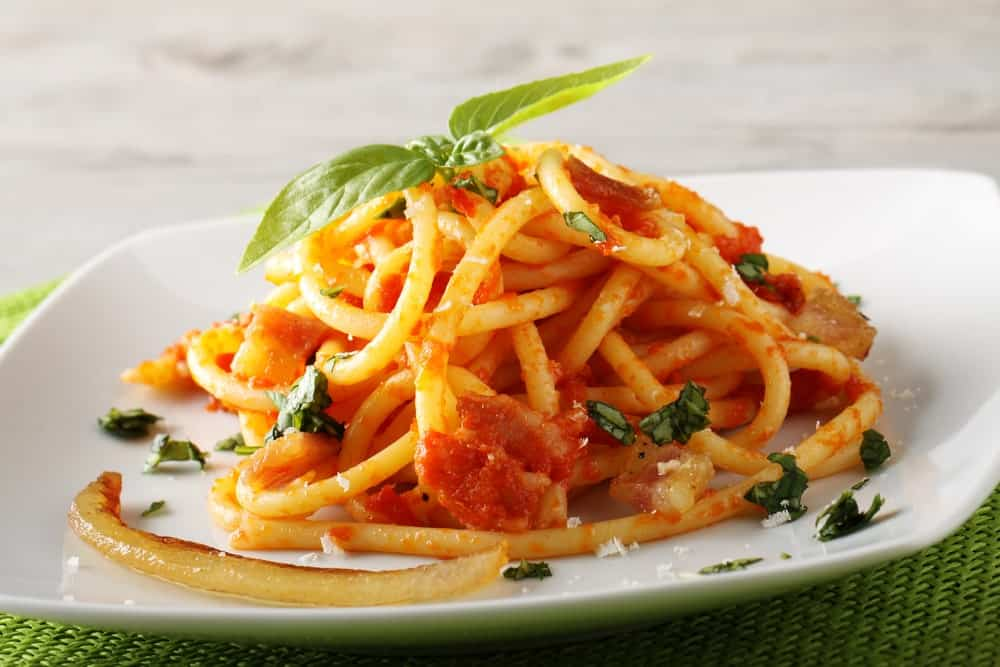 Pasta in red Amatriciana sauce