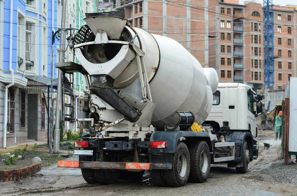 A concrete mixer construction vehicle