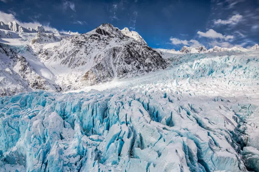 Glacier viewed from a helicopter