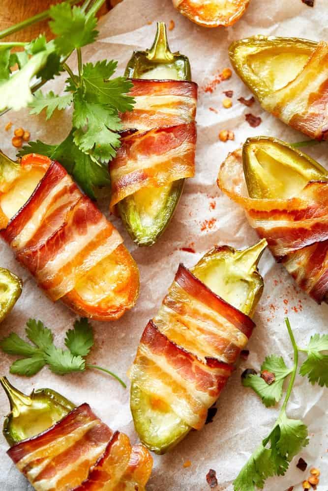 Bacon wrapped around jalapenos