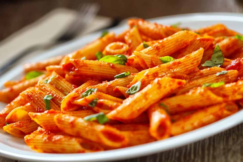 Pasta in red tomato sauce