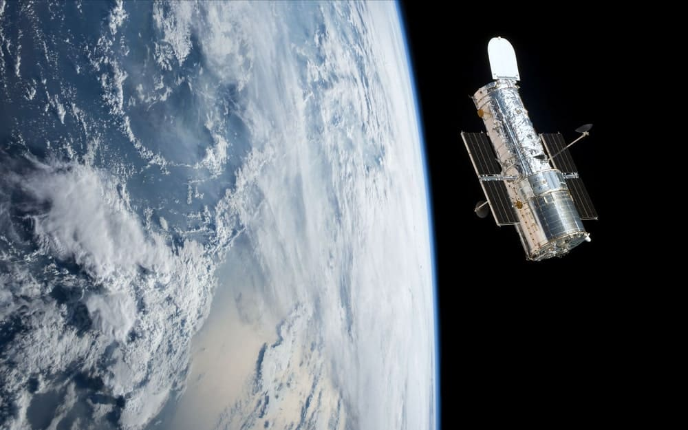 Hubble space telescope orbiting planet earth