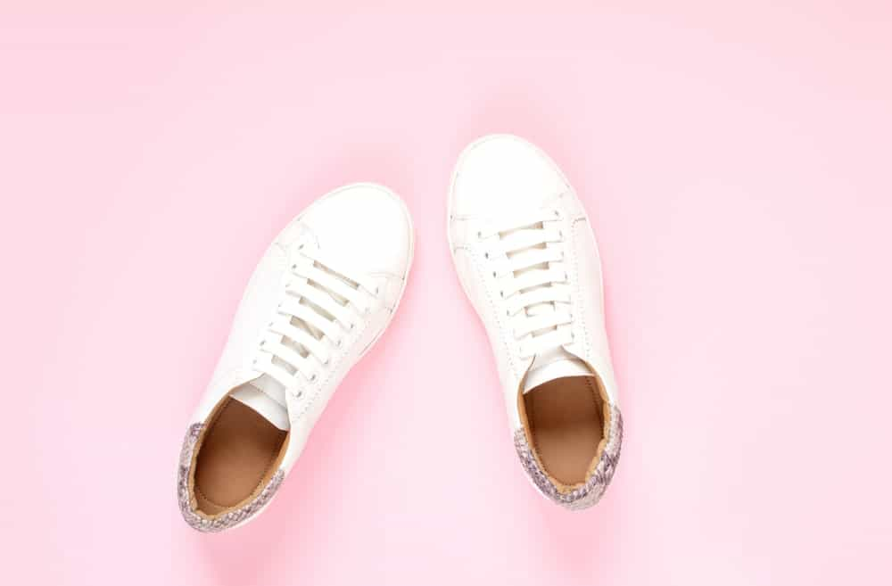 White synthetic sneakers