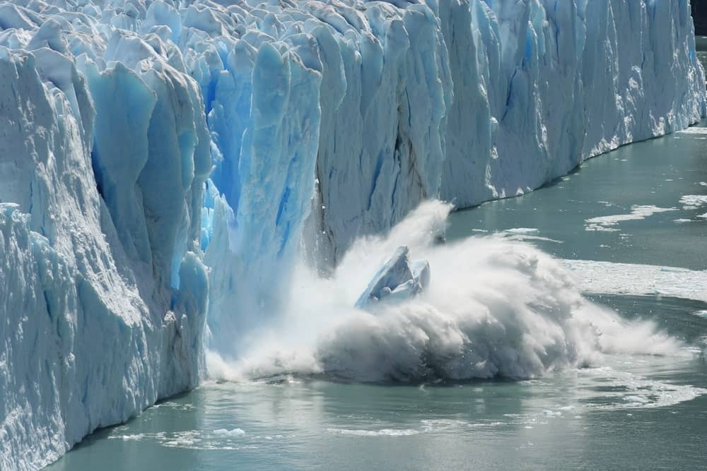 Large glacial wall of tidewater glaciers