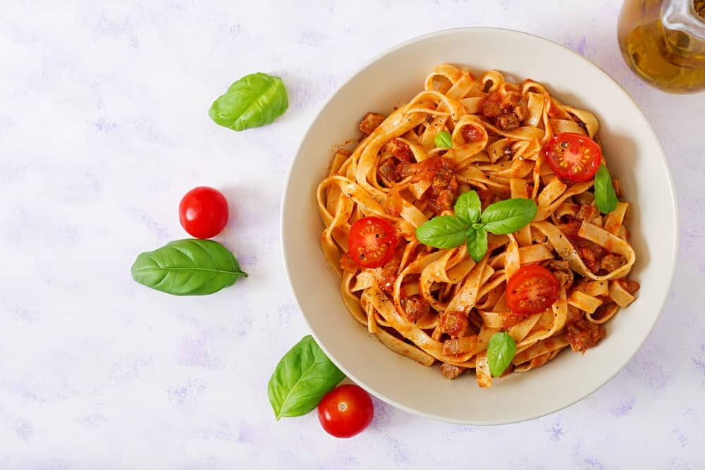 Fettuccini pasta in roasted tomato sauce