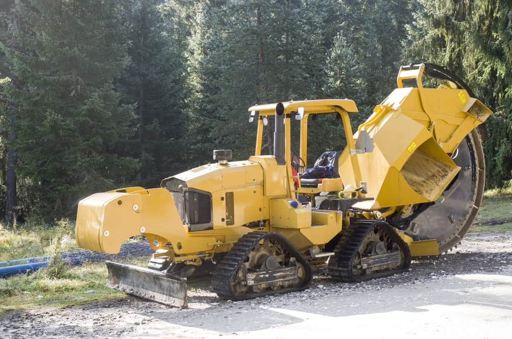 A trencher on road construction site
