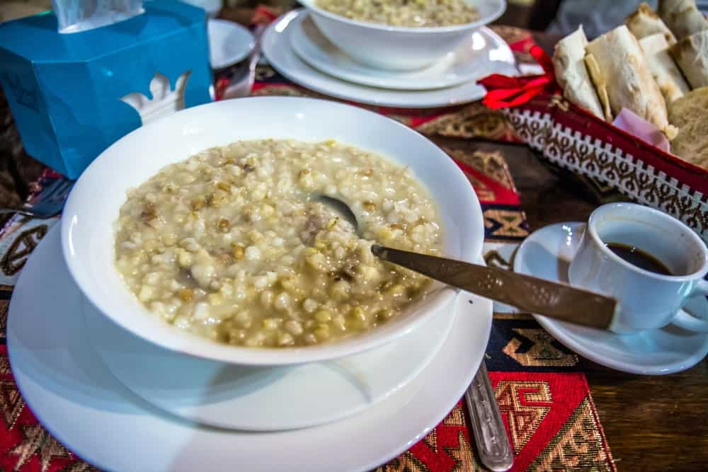 Traditional Armenian porridge with meat