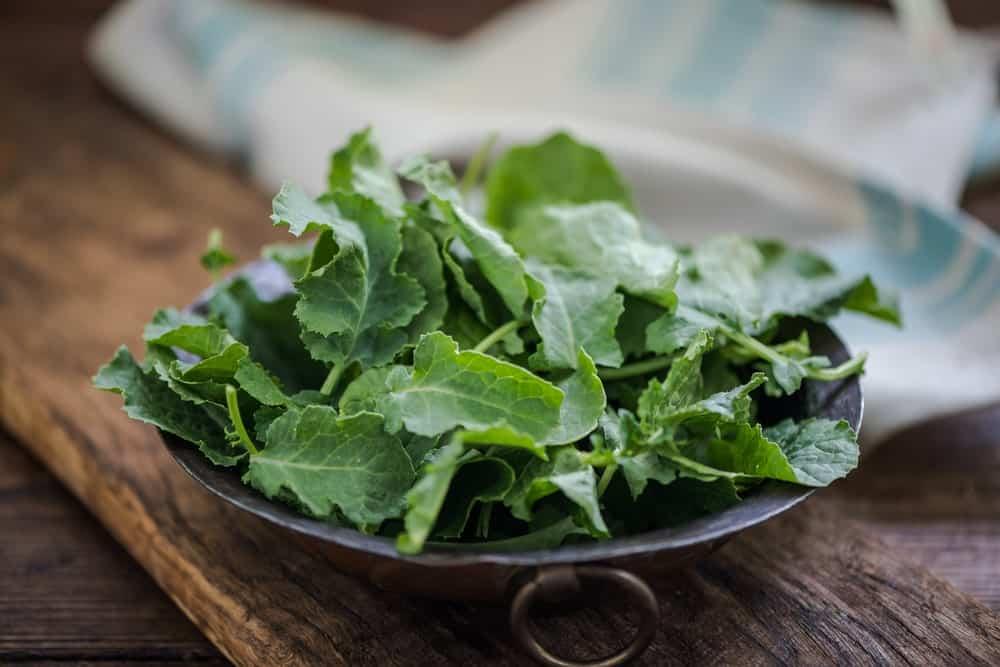 Baby kale leaves in a rustic bowl