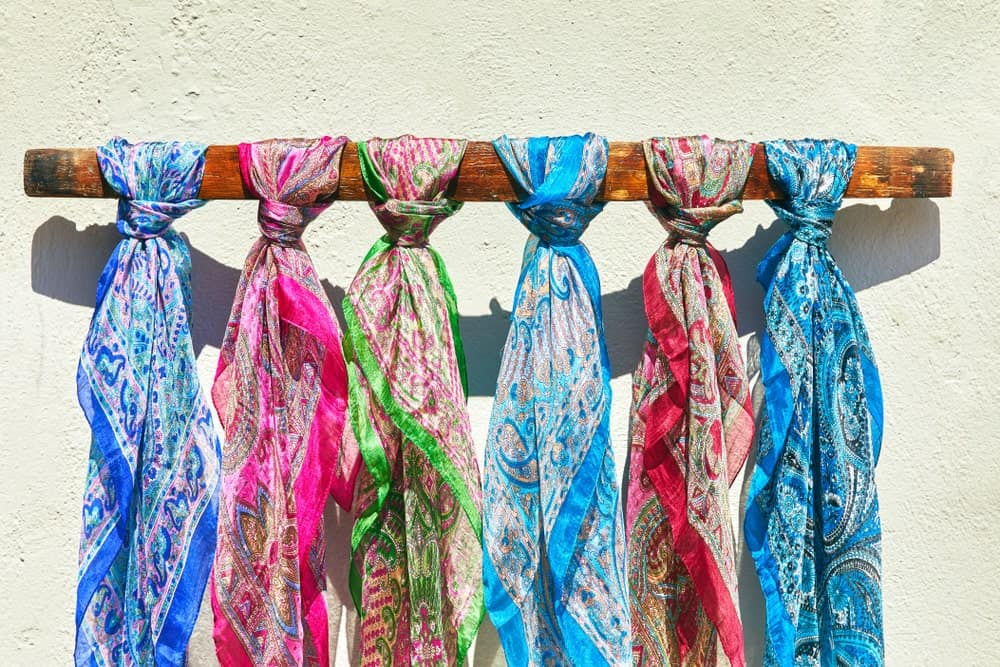 Six colorful silk scarves
