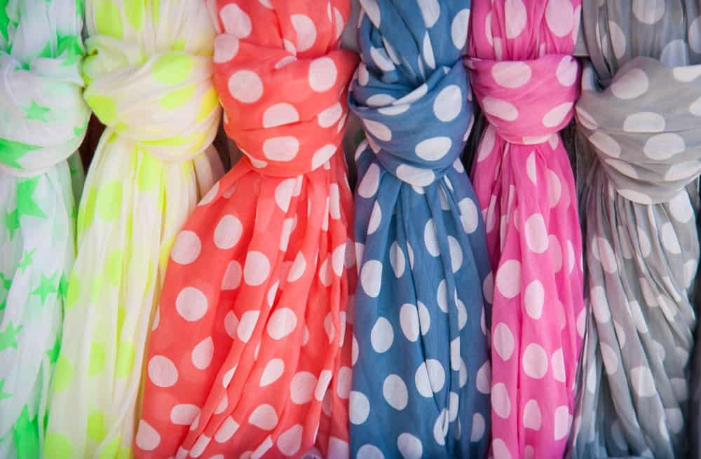 Colorful, dotted cotton scarves
