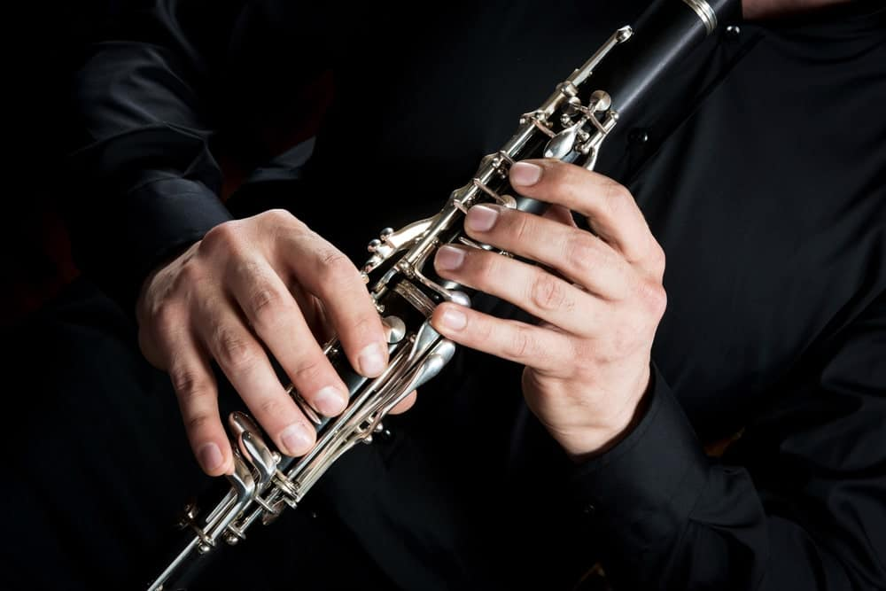 A clarinetist playing a clarinet