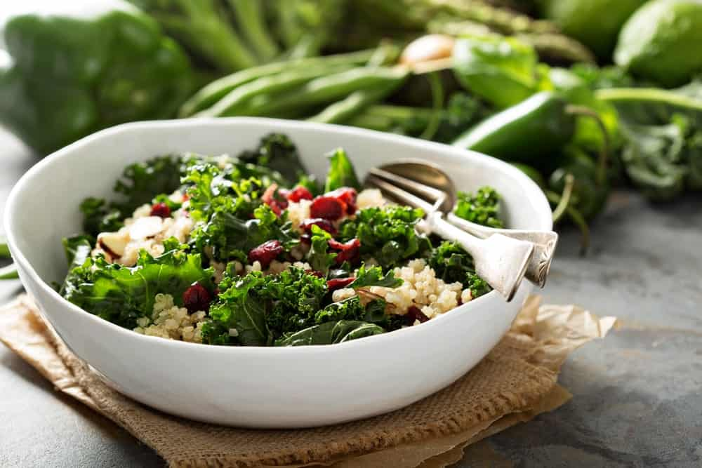 A bowl of kale salad